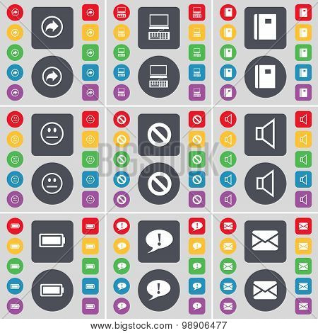 Back, Laptop, Notebook, Smile, Stop, Sound, Battery, Chat Bubble, Message Icon Symbol. A Large Set O