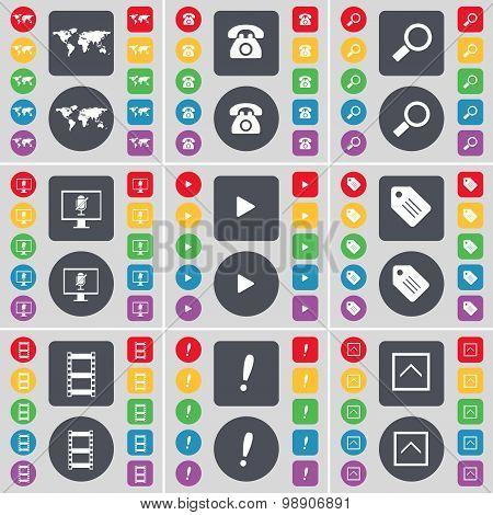 Globe, Retro Phone, Magnifying Glass, Monitor, Media Play, Tag, Negative Films, Exclamation Mark, Ar