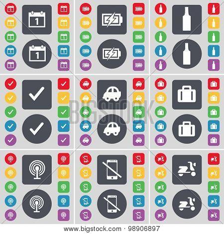 Calendar, Charging, Bottle, Tick, Car, Suitcase, Wi-fi, Smartphone, Scooter Icon Symbol. A Large Set