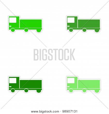 assembly realistic sticker design on paper car cargo delivery