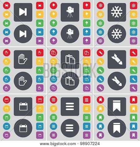 Media Skip, Film Camera, Snowflake, Hand, Survey, Rocket, Calendar, Apps, Marker Icon Symbol. A Larg