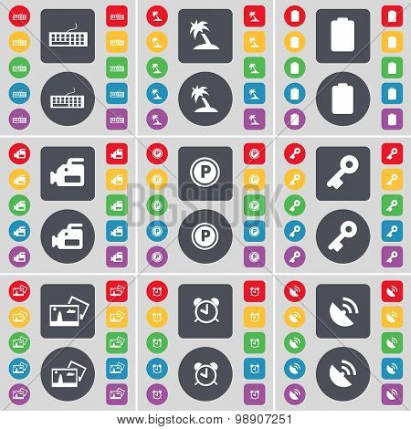 Keyboard, Palm, Battery, Film Camera, Parking, Key, Picture, Alarm Clock, Satellite Dish Icon Symbol
