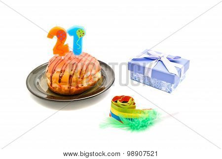 Donut With Twenty One Years Birthday Candle, Whistle And Gift
