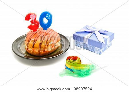 Donut With Thirty Years Birthday Candle, Whistle And Gift