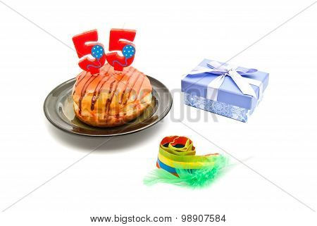 Donut With Fifty Five Years Birthday Candle, Whistle And Gift