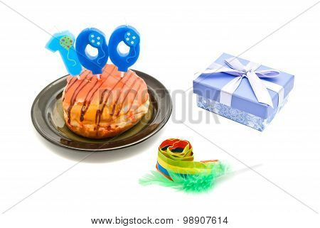 Donut With One Hundred Years Birthday Candle, Whistle And Gift
