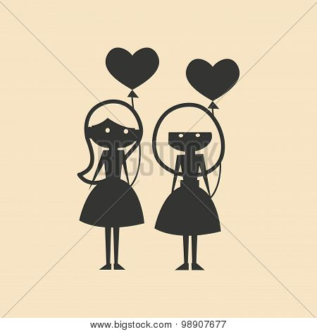 Flat in black and white mobile application female friendship