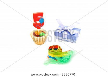 Cake With Five Years Birthday Candle, Whistle And Gift