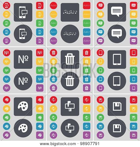 Sms, Note, Chat Bubble, Number, Trash Can, Tablet Pc, Palette, Mailbox, Floppy Icon Symbol. A Large