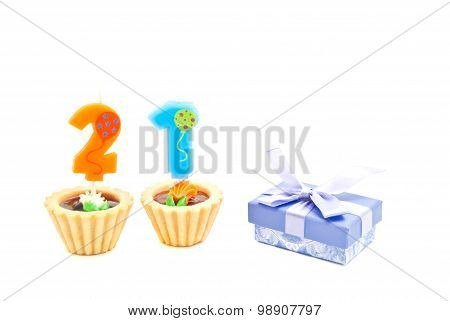 Cakes With Twenty One Years Birthday Candles And Gift