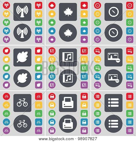 Wi-fi, Maple Leaf, Compass, Leaf, Music Window, Picture, Bicycle, Printer, List Icon Symbol. A Large