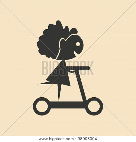 Flat in black and white mobile application child on scooter