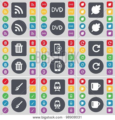 Rss, Dvd, Leaf, Trash Can, Smartphone, Reload, Brush, Train, Cup Icon Symbol. A Large Set Of Flat, C