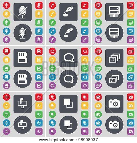 Microphone, Ink Pot, Server, Sim Card, Chat Bubble, Gallery, Mailbox, Copy, Camera Icon Symbol. A La