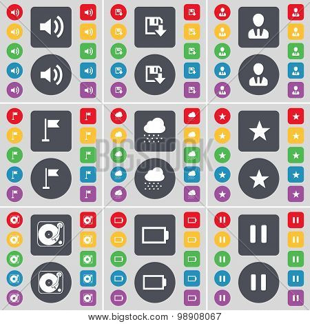 Sound, Floppy, Avatar, Golf Hole, Cloud, Star, Gramophone, Battery, Pause Icon Symbol. A Large Set O