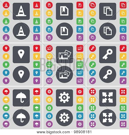 Cone, Flag, Copy, Checkpoint, Picture, Key, Umbrella, Gear, Full Screen Icon Symbol. A Large Set Of