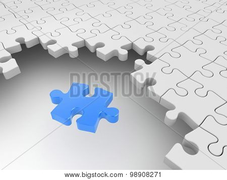 Blue puzzle surrounded by white puzzles