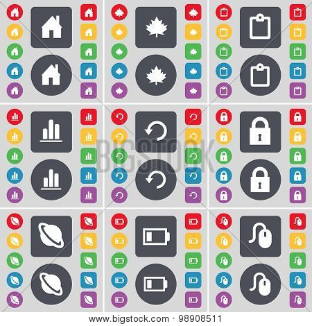 House, Maple Leaf, Survey, Diagram, Reload, Lock, Planet, Battery,  Mouse Icon Symbol. A Large Set O