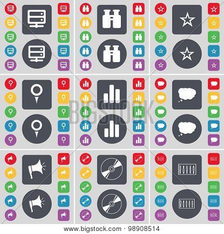 Server, Binoculars, Star, Checkpoint, Diagram, Chat Cloud, Megaphone, Disk, Equalizer Icon Symbol. A