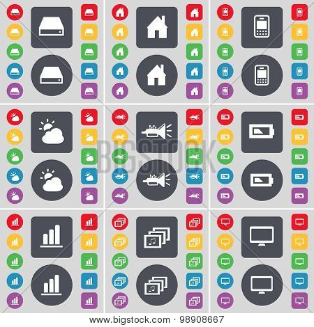 Hard Drive, House, Mobile Phone, Cloud, Trumped, Battery, Diagram, Gallery, Monitor Icon Symbol. A L