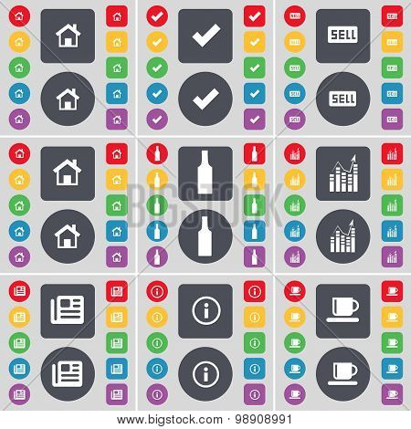 House, Tick, Sell, House, Bottle, Graph, Newspaper, Information, Cup Icon Symbol. A Large Set Of Fla