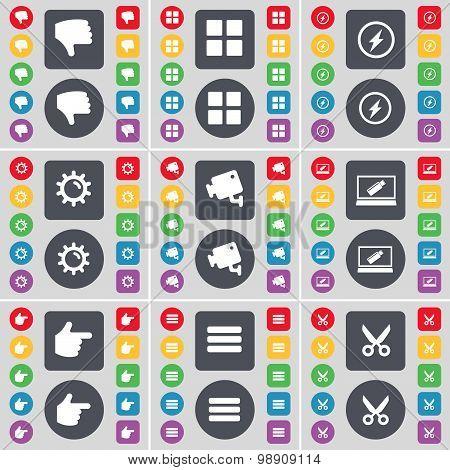 Dislike, Apps, Flash, Gear, Cctv, Laptop, Hand, Apps, Scissors Icon Symbol. A Large Set Of Flat, Col