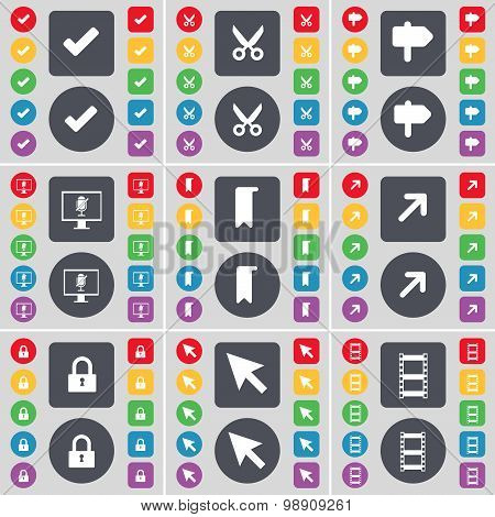 Tick, Scissors, Signpost, Monitor, Marker, Full Screen, Lock, Cursor, Negative Films Icon Symbol. A