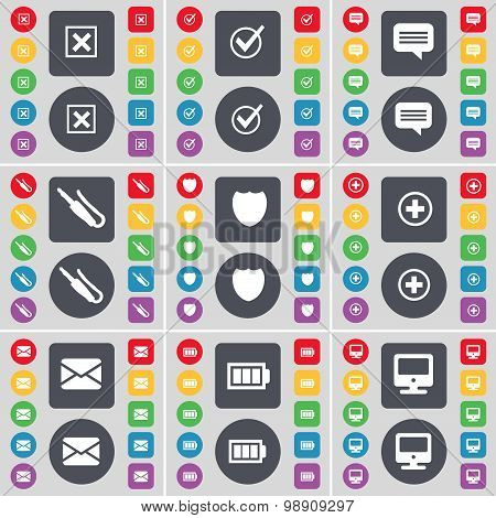 Stop, Tick, Chat Bubble, Microphone Connector, Badge, Plus, Message, Battery, Monitor Icon Symbol. A