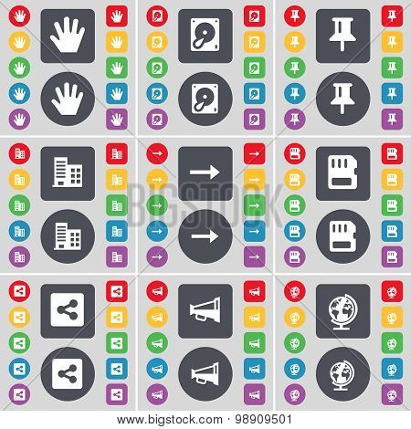 Hand, Hard Drive, Pin, Building, Arrow Right, Sim Card, Share, Megaphone, Globe Icon Symbol. A Large