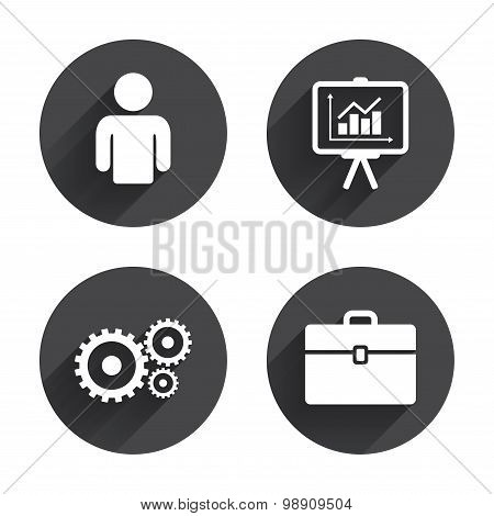 Business signs. Human and presentation board.