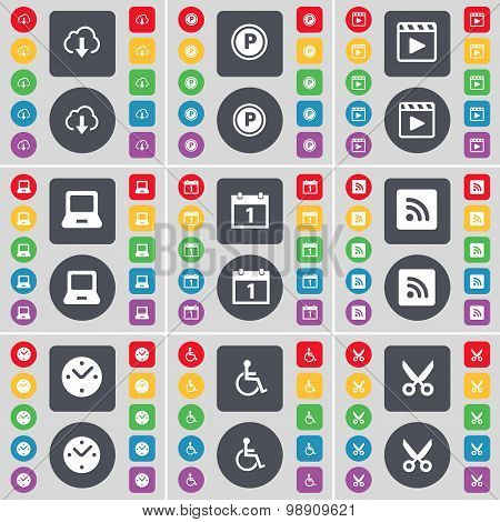Cloud, Parking, Media Player, Laptop, Calendar, Rss, Clock, Disabled Person, Scissors Icon Symbol. A