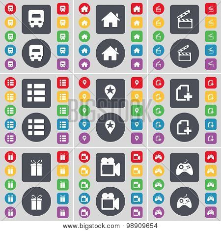 Truck, House, Clapper, List, Checkpoint, File, Gift, Film Camera, Gamepad Icon Symbol. A Large Set O