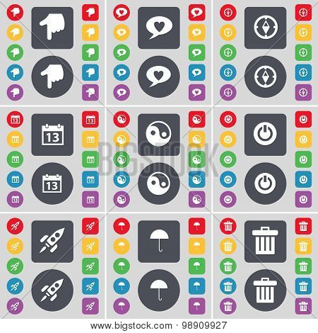 Hand, Chat Bubble, Compass, Calendar, Yin-yang, Power, Rocket, Umbrella, Trash Can Icon Symbol. A La
