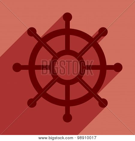 Flat with shadow icon and mobile application helm ship