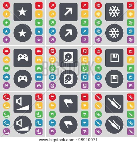 Star, Full Screen, Snowflake, Gamepad, Hard Drive, Floppy, Volume, Flag, Microphone Connector Icon S