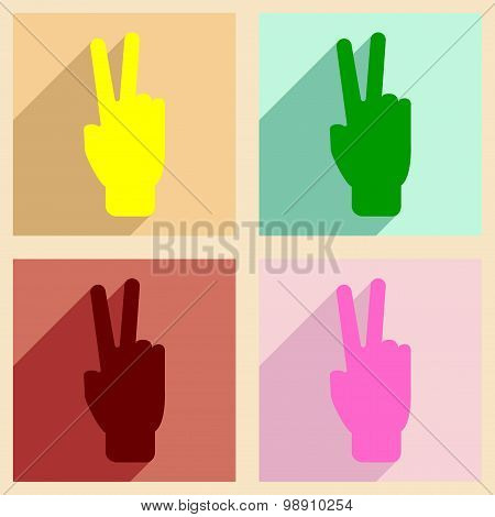 Flat with shadow concept and mobile application peace hand