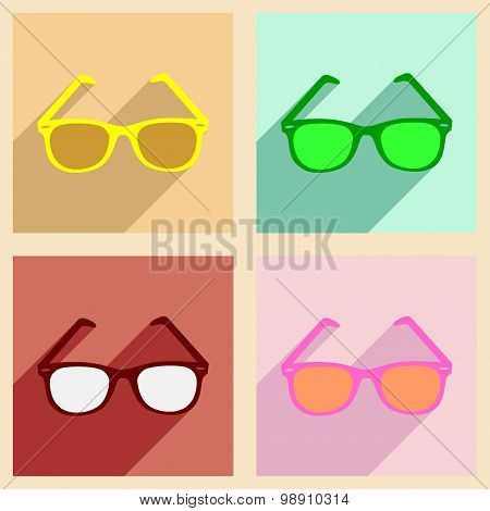 Flat with shadow concept and mobile application sunglasses