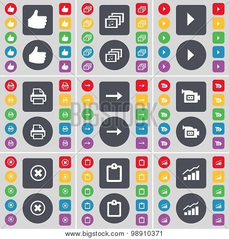 Like, Gallery, Media Play, Printer, Arrow Right, Film Camera, Stop, Survey, Graph Icon Symbol. A Lar