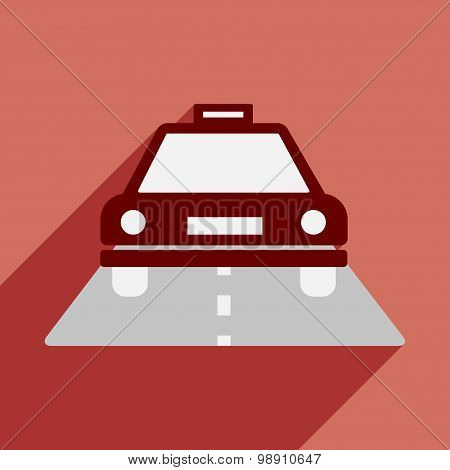 Flat with shadow icon and mobile application taxi