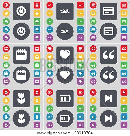 Power, Swimmer, Credit Card, Calendar, Heart, Quotation Mark, Flower, Battery, Media Skip Icon Symbo