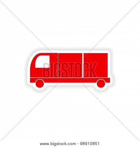 icon sticker realistic design on paper car freight logistics
