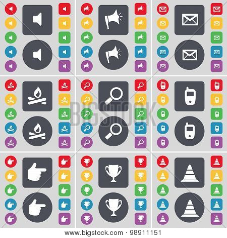 Sound, Megaphone, Message, Campfire, Magnifying Glass, Mobile Phone, Hand, Cup, Cone Icon Symbol. A