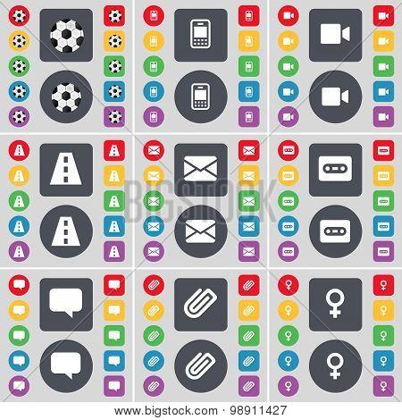 Ball, Mobile Phone, Video Camera, Road, Message, Cassette, Chat Bubble, Clip, Venus Symbol Icon Symb