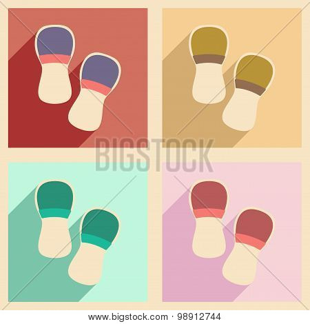Flat with shadow concept and mobile application slippers
