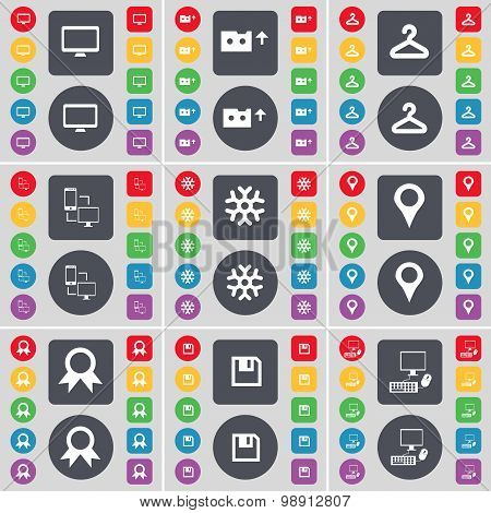 Monitor, Cassette, Hager, Connection, Snowflake, Checkpoint, Medal, Floppy, Pc Icon Symbol. A Large
