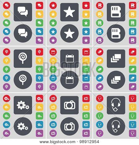 Chat, Star, Sim Card, Lollipop, Calendar, Gallery, Gear, Camera, Headphones Icon Symbol. A Large Set