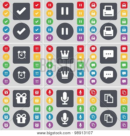 Tick, Pause, Printer, Alarm Clock, Crown, Chat Bubble, Gift, Microphone, Copy Icon Symbol. A Large S