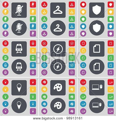 Microphone, Hager, Badge, Train, Flash, File, Checkpoint, Palette, Laptop Icon Symbol. A Large Set O