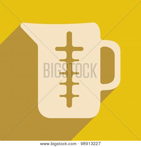 Flat with shadow icon and mobile application measuring jug