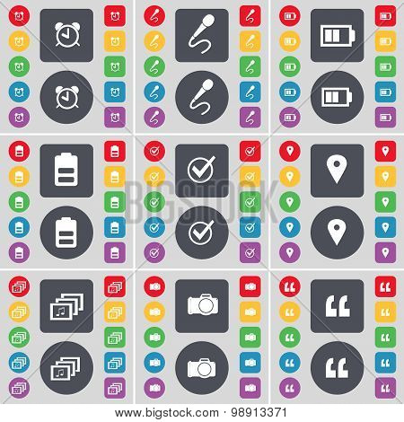 Alarm Clock, Microphone, Battery, Tick, Checkpoint, Gallery, Camera, Quotation Mark Icon Symbol. A L